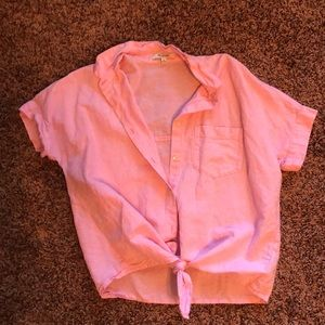Bubblegum Pink Crop Top button down from Madewell